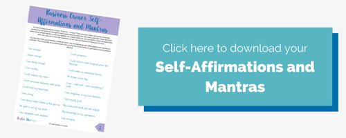 Rectangular image button incentivizing readers to click it to download a free list of self-affirmations and mantras