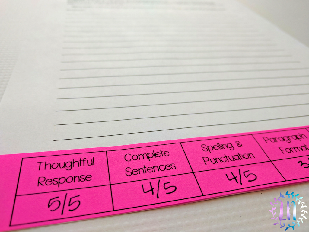 A photograph of a quick-score writing rubric printed on hot pink paper placed at the bottom of lined paper, as an example of how teachers can use the quick-score rubric