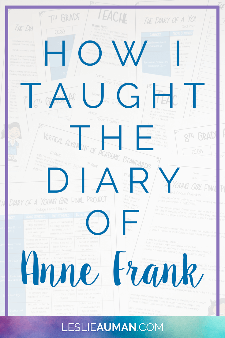 A tall, vertical image with the words How I Taught the Diary of Anne Frank on it to be used on Pinterest