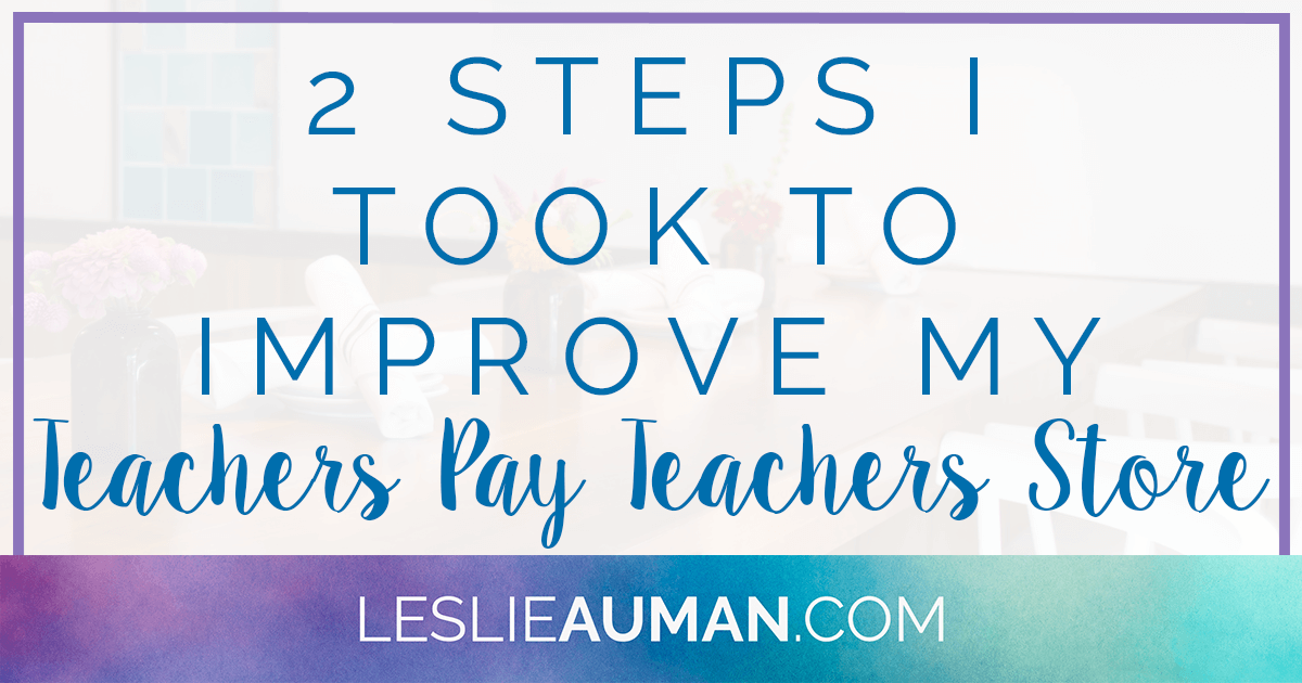 A large rectangular graphic with the words 2 Steps I Took to Improve My Teachers Pay Teachers Store on it