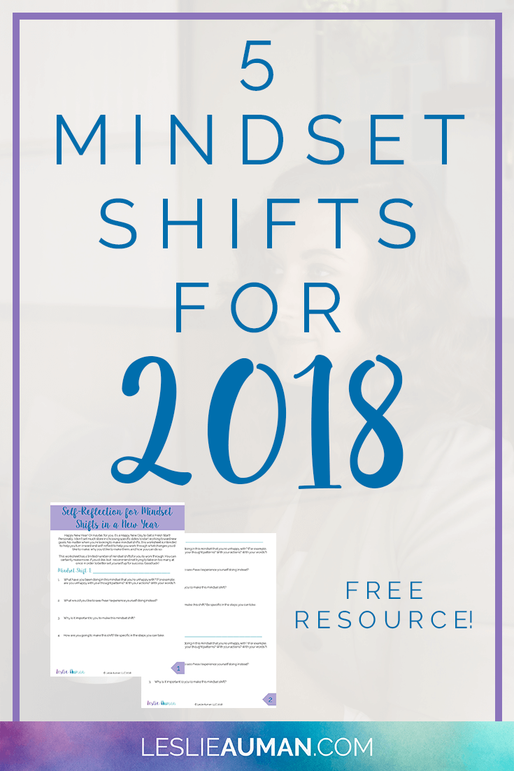 A tall, vertical image with the words 5 Mindset Shifts for 2018 on it to be used on Pinterest