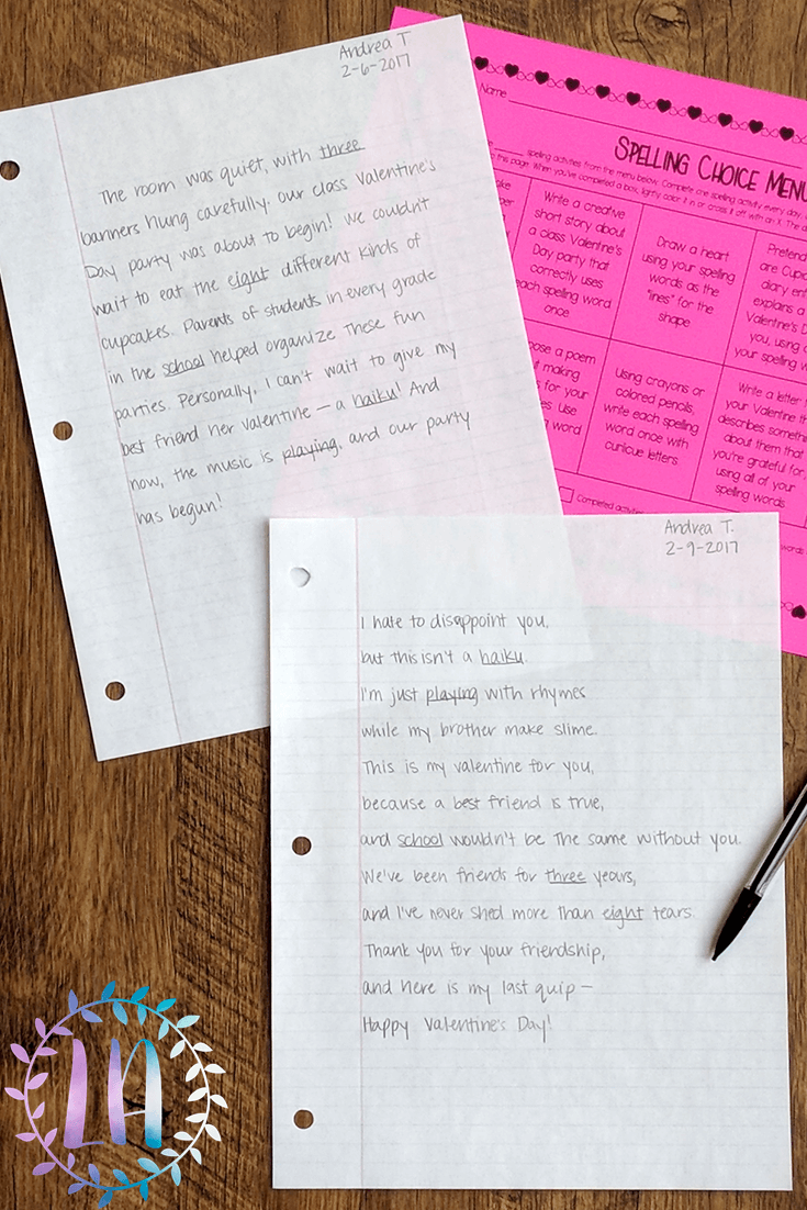 A photograph of Valentine's Day-themed spelling practice materials