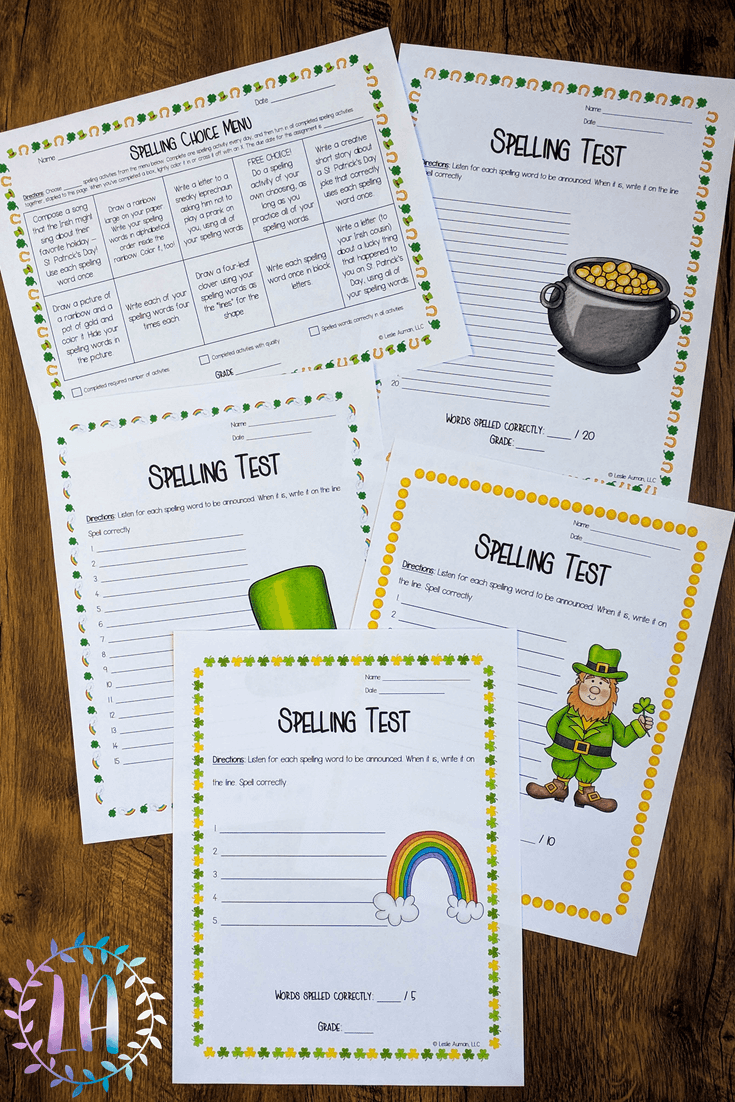 A photograph of St. Patrick's Day-themed spelling practice materials