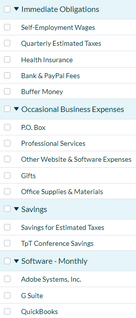 A tall, vertical screenshot of the different categories and line items I have in my budget in the You Need a Budget app