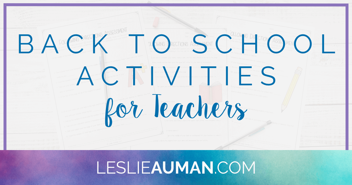 "This is a title graphic in horizontal Facebook format with the text ""Back to School Activities for Teachers"" on it"