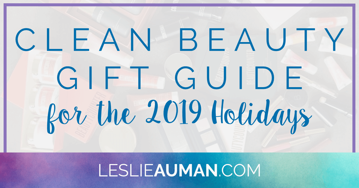 "This is a title graphic in horizontal Facebook format with the text ""Clean Beauty Gift Guide for the 2019 Holidays"" on it"