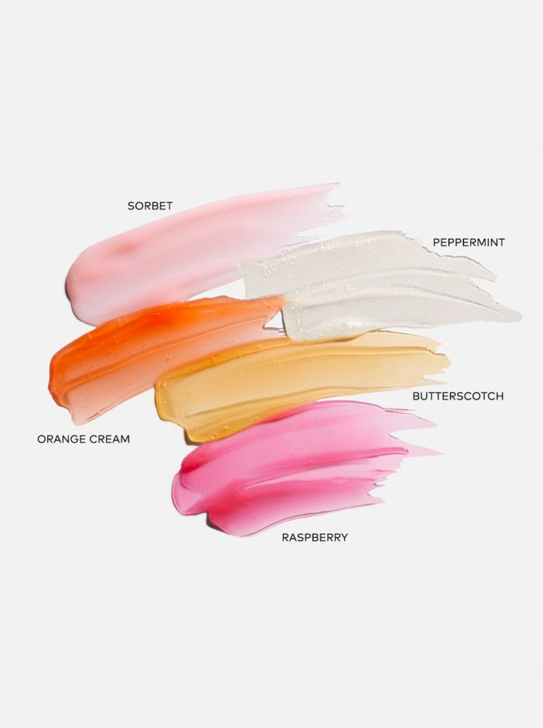 This is a photograph of the shades of the Jellies lip glosses from Beautycounter.