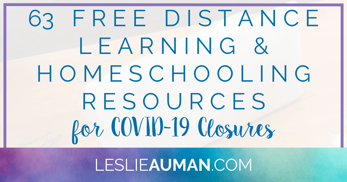 "This is a title graphic in horizontal Facebook format with the text ""63 FREE Distance Learning & Homeschooling Resources for COVID-19 Closures"" on it"