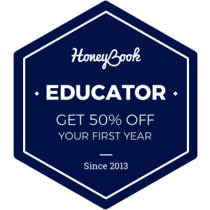 "This is a hexagonal graphic that says, ""HoneyBook Educator: Get 50% off your first year."""