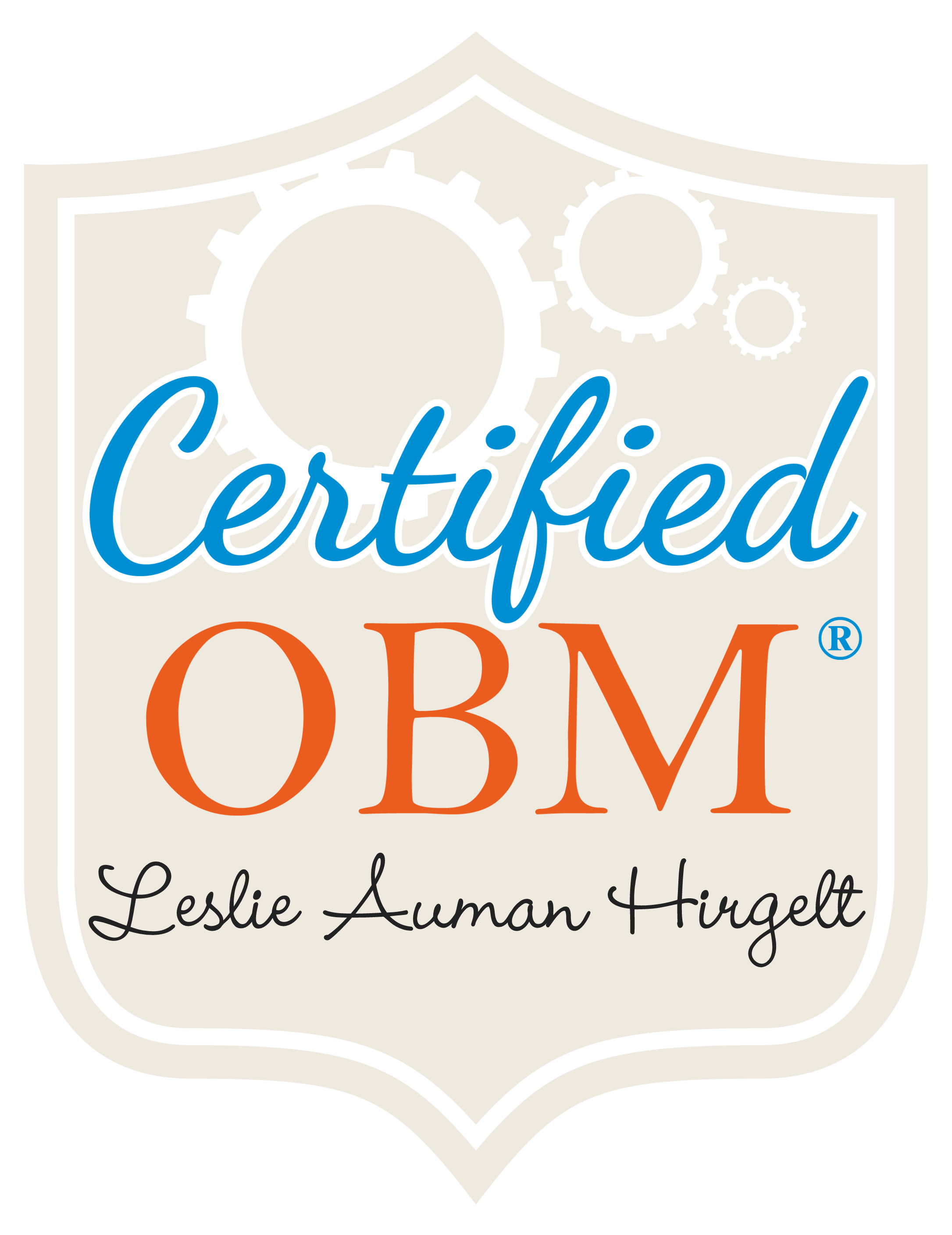 This is a graphic displaying a badge for Leslie Auman Hirgelt's OBM certification.